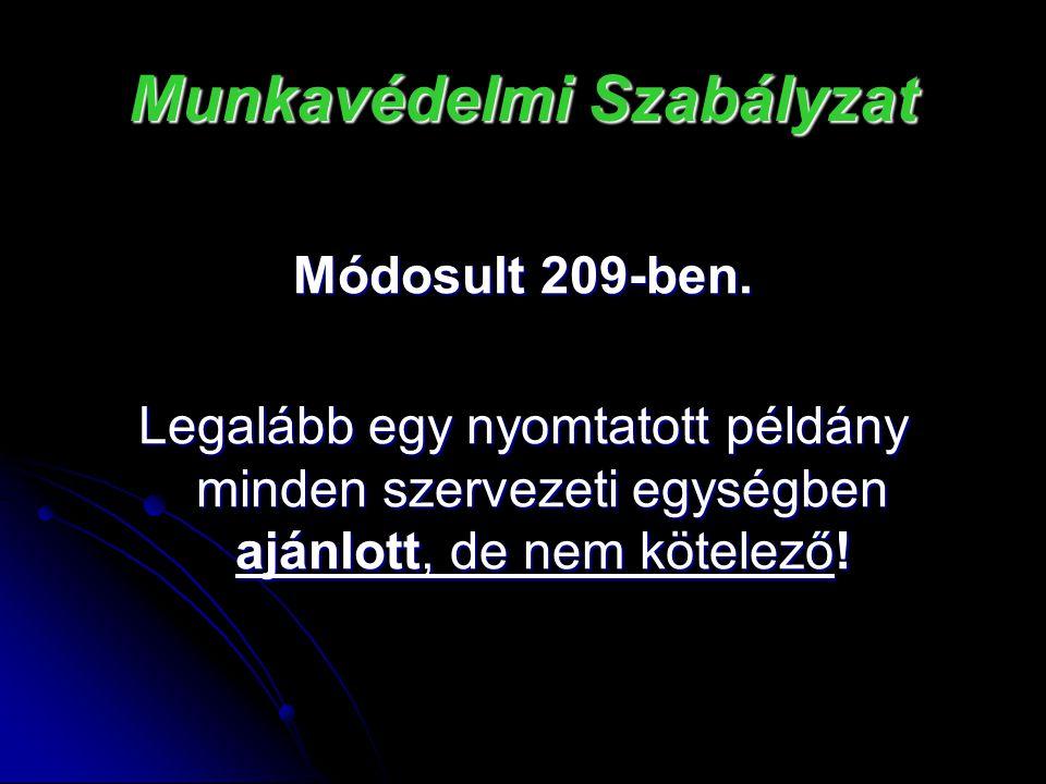 Munkavédelmi Szabályzat Módosult 209-ben. Legalább egy nyomtatott példány minden szervezeti egységben ajánlott, de nem kötelező!