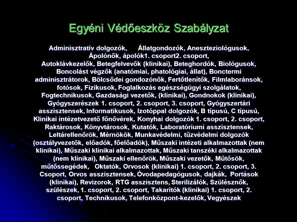 Egyéni Védőeszköz Szabályzat Adminisztratív dolgozók,Állatgondozók, Aneszteziológusok, Ápolónők, ápolók1. csoport2. csoport, Autoklávkezelők, Betegfel