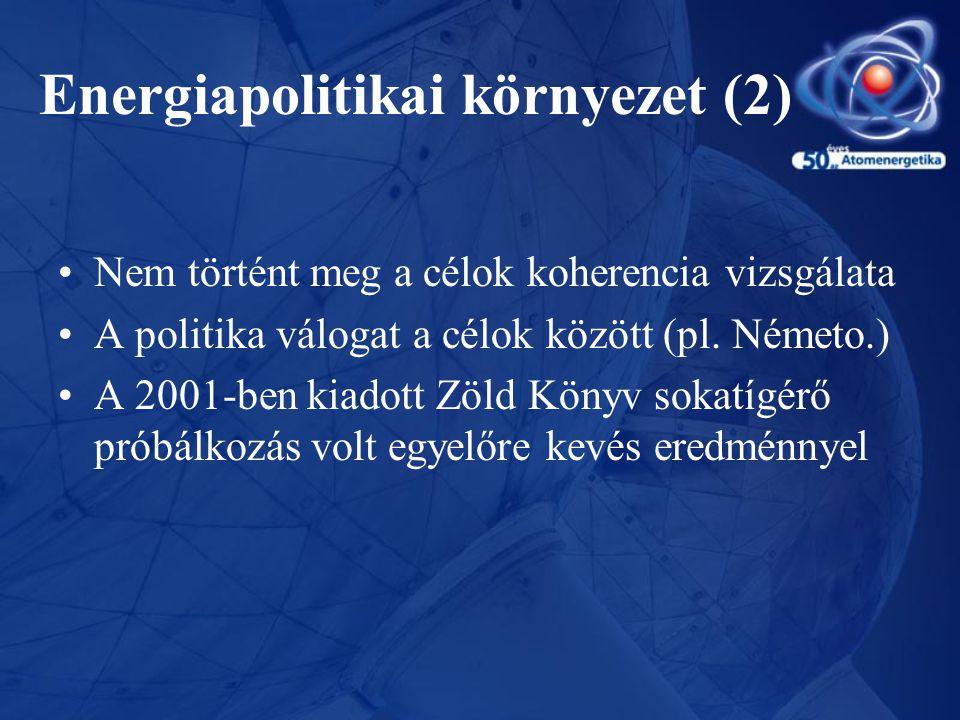 Energiapolitikai környezet (2) •Nem történt meg a célok koherencia vizsgálata •A politika válogat a célok között (pl. Németo.) •A 2001-ben kiadott Zöl