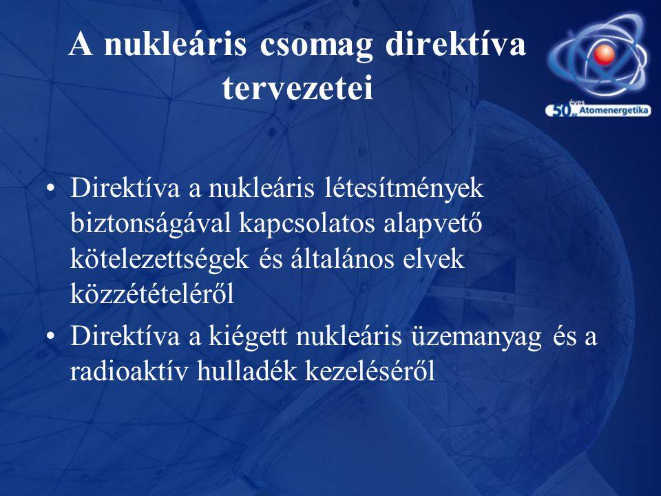A nukleáris csomag direktíva tervezetei •Direktíva a nukleáris létesítmények biztonságával kapcsolatos alapvető kötelezettségek és általános elvek köz