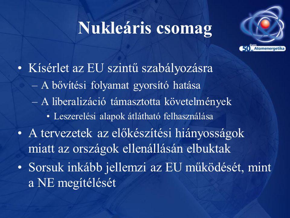 Nukleáris csomag •Kísérlet az EU szintű szabályozásra –A bővítési folyamat gyorsító hatása –A liberalizáció támasztotta követelmények •Leszerelési ala