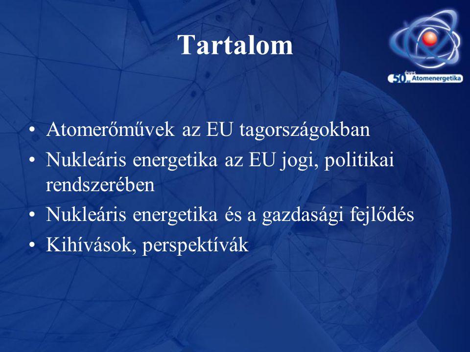 Tartalom •Atomerőművek az EU tagországokban •Nukleáris energetika az EU jogi, politikai rendszerében •Nukleáris energetika és a gazdasági fejlődés •Ki
