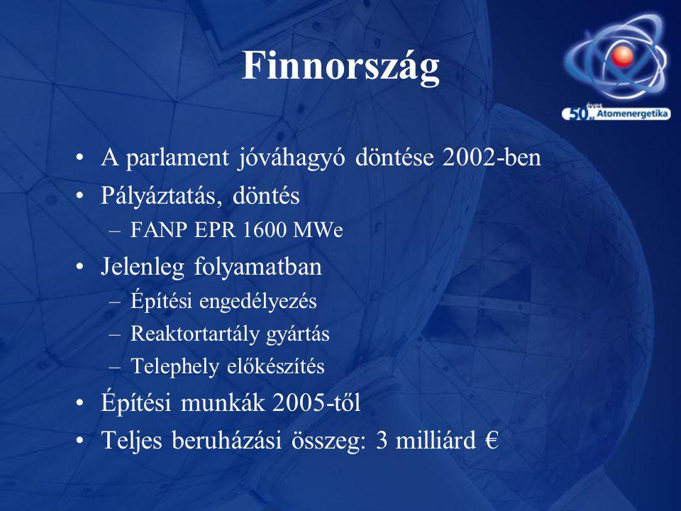 Finnország •A parlament jóváhagyó döntése 2002-ben •Pályáztatás, döntés –FANP EPR 1600 MWe •Jelenleg folyamatban –Építési engedélyezés –Reaktortartály