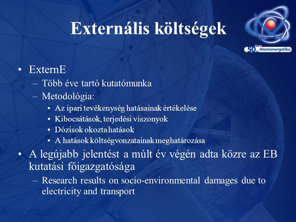 Externális költségek •ExternE –Több éve tartó kutatómunka –Metodológia: •Az ipari tevékenység hatásainak értékelése •Kibocsátások, terjedési viszonyok