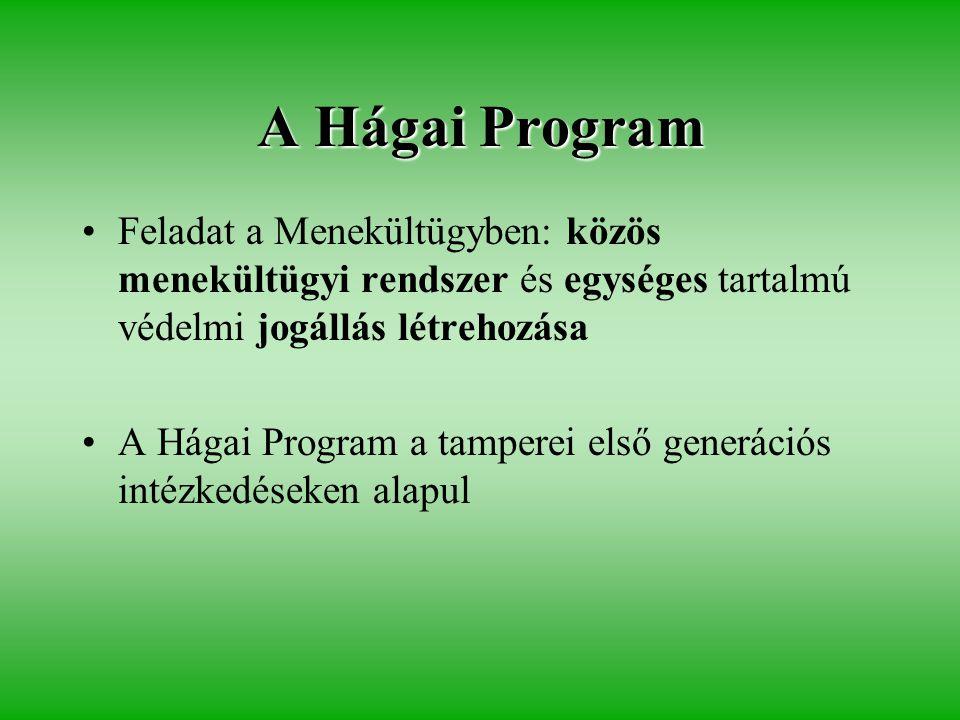 A Hágai Program •Feladat a Menekültügyben: közös menekültügyi rendszer és egységes tartalmú védelmi jogállás létrehozása •A Hágai Program a tamperei első generációs intézkedéseken alapul