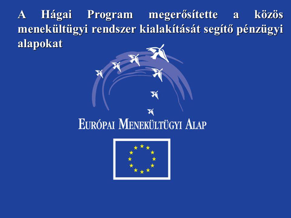 A Hágai Program megerősítette a közös menekültügyi rendszer kialakítását segítő pénzügyi alapokat