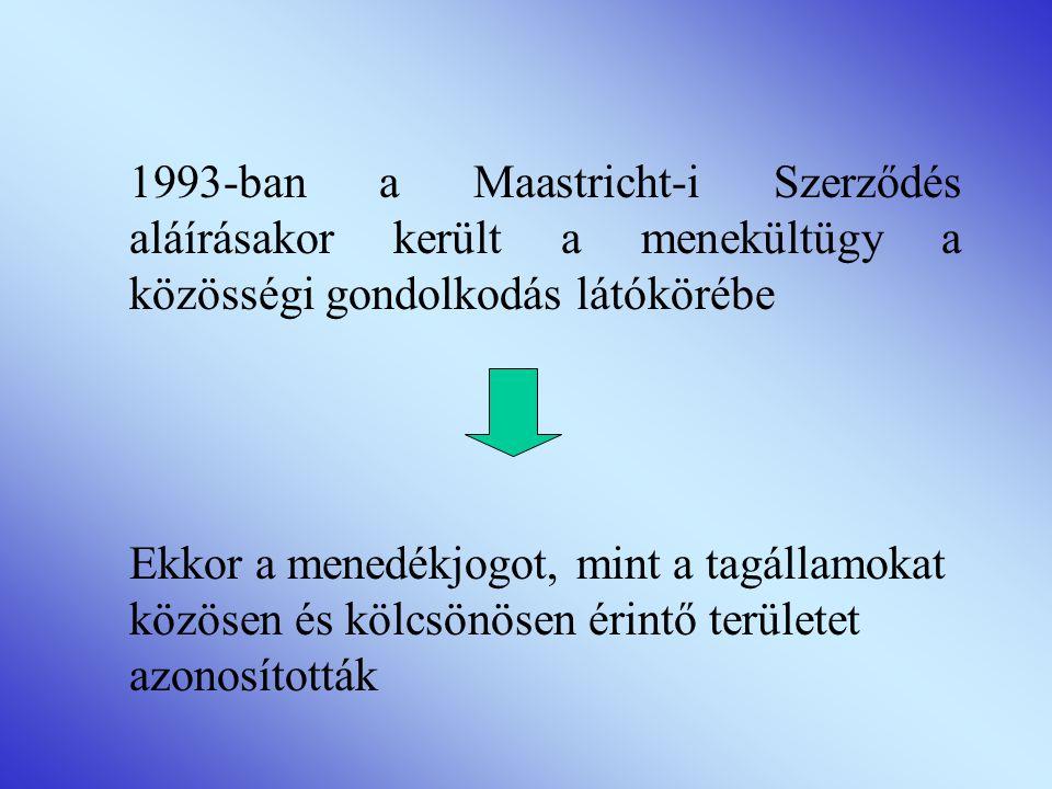 1993-ban a Maastricht-i Szerződés aláírásakor került a menekültügy a közösségi gondolkodás látókörébe Ekkor a menedékjogot, mint a tagállamokat közösen és kölcsönösen érintő területet azonosították
