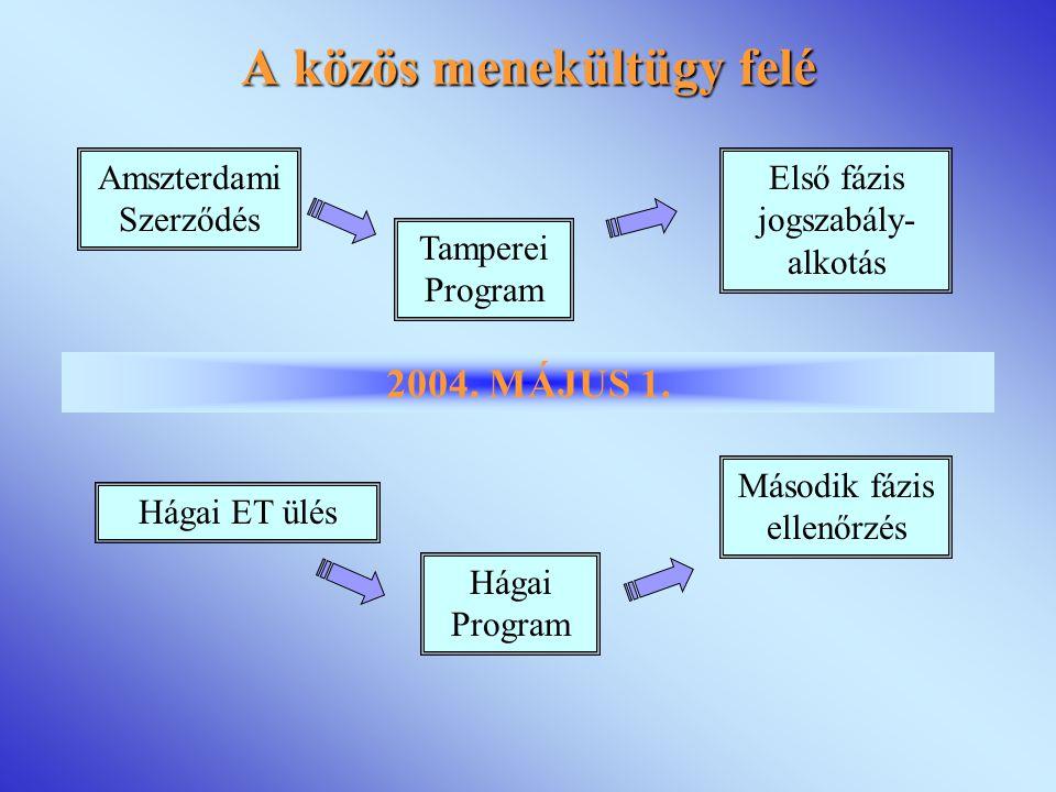 Tamperei Program Amszterdami Szerződés Első fázis jogszabály- alkotás 2004.