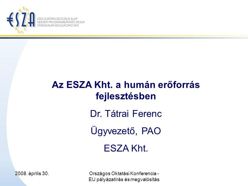 2008.április 30.Országos Oktatási Konferencia - EU pályázatírás és megvalósítás Miért éppen ESZA.