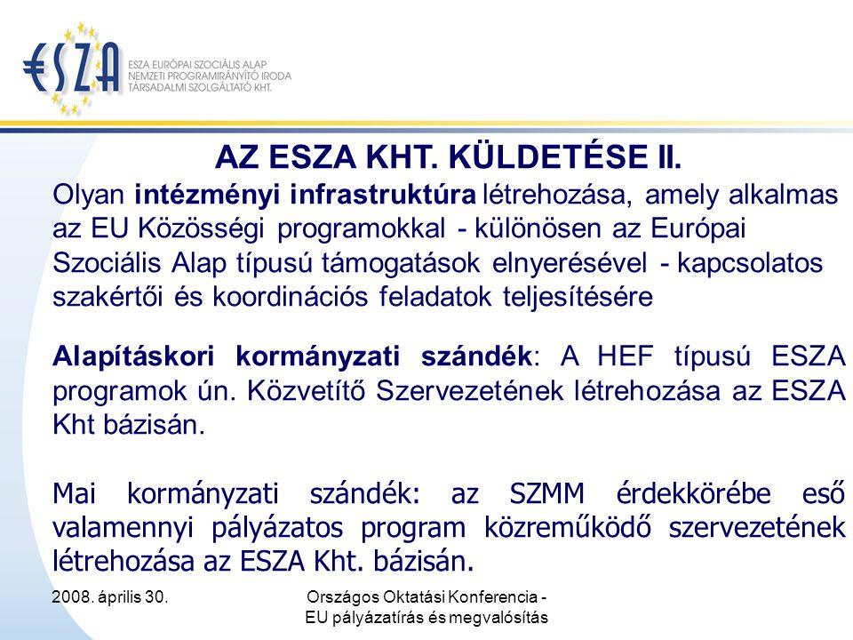 2008. április 30.Országos Oktatási Konferencia - EU pályázatírás és megvalósítás AZ ESZA KHT.