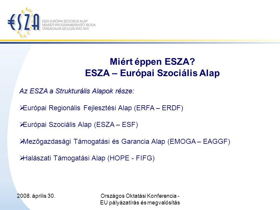 2008. április 30.Országos Oktatási Konferencia - EU pályázatírás és megvalósítás Miért éppen ESZA.