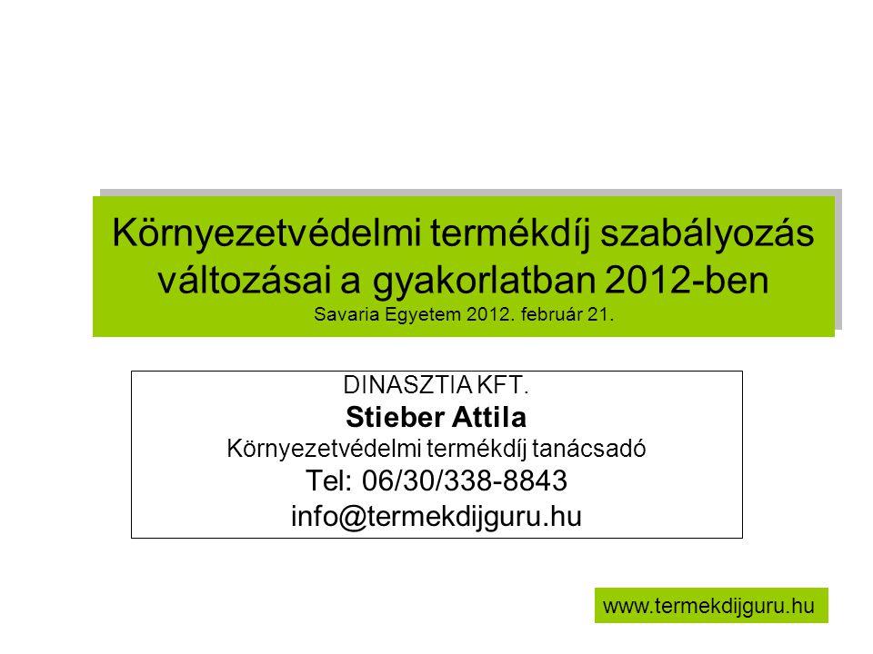 Környezetvédelmi termékdíj szabályozás változásai a gyakorlatban 2012-ben Savaria Egyetem 2012. február 21. DINASZTIA KFT. Stieber Attila Környezetvéd