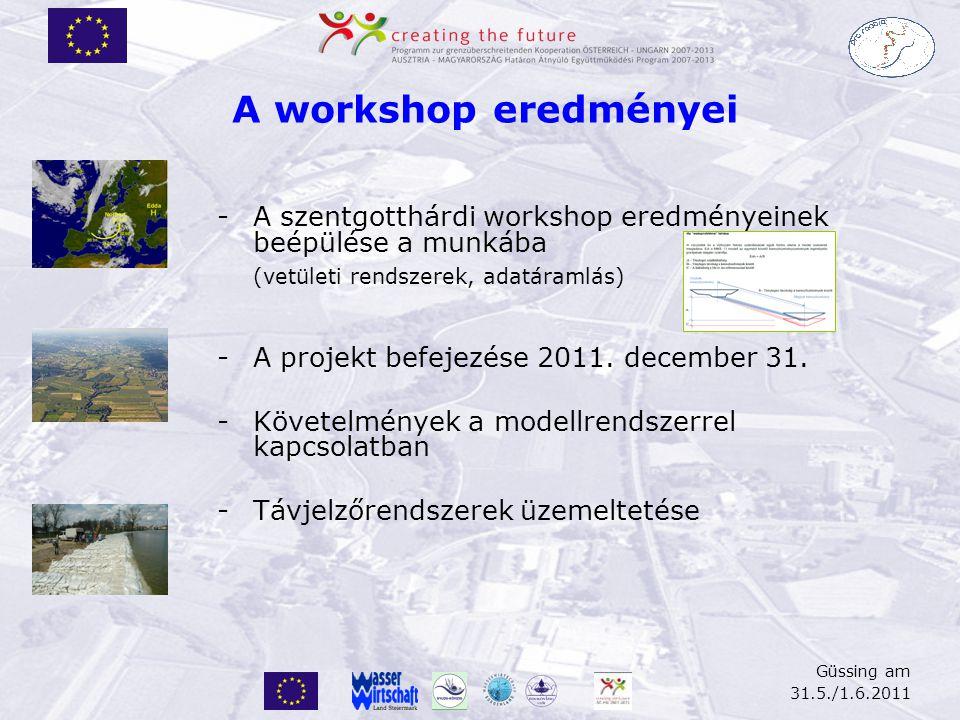 Güssing am 31.5./1.6.2011 -A szentgotthárdi workshop eredményeinek beépülése a munkába (vetületi rendszerek, adatáramlás) -A projekt befejezése 2011.