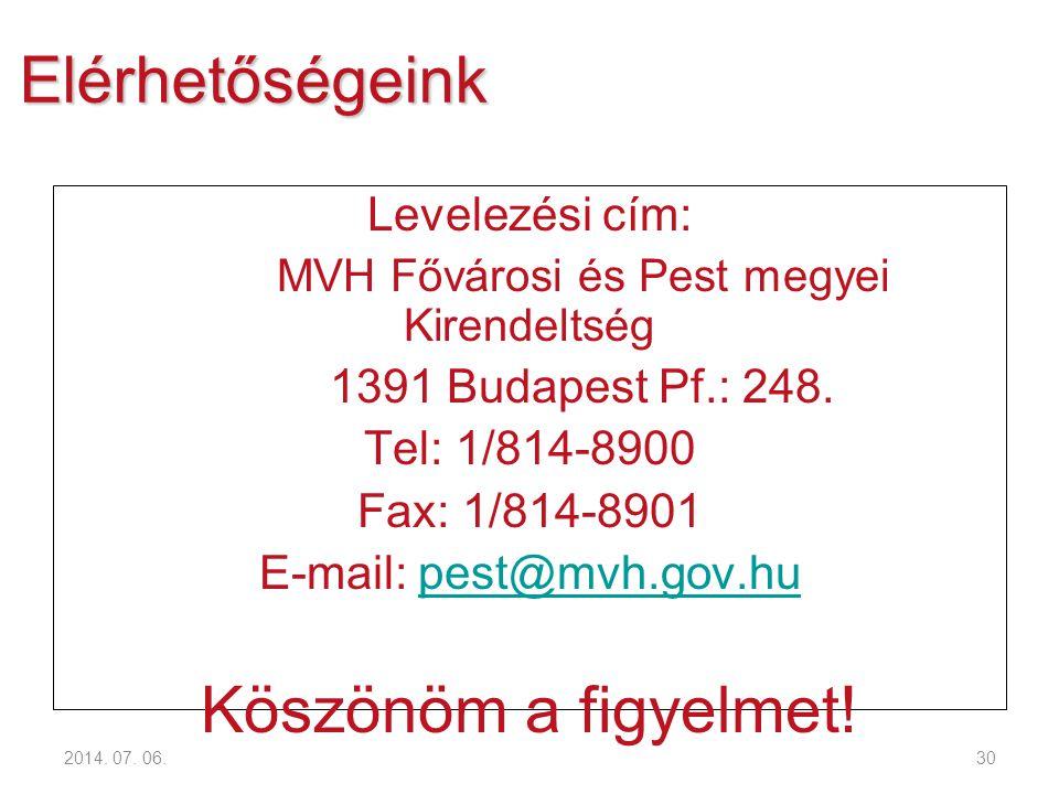 2014. 07. 06.30 Elérhetőségeink Levelezési cím: MVH Fővárosi és Pest megyei Kirendeltség 1391 Budapest Pf.: 248. Tel: 1/814-8900 Fax: 1/814-8901 E-mai
