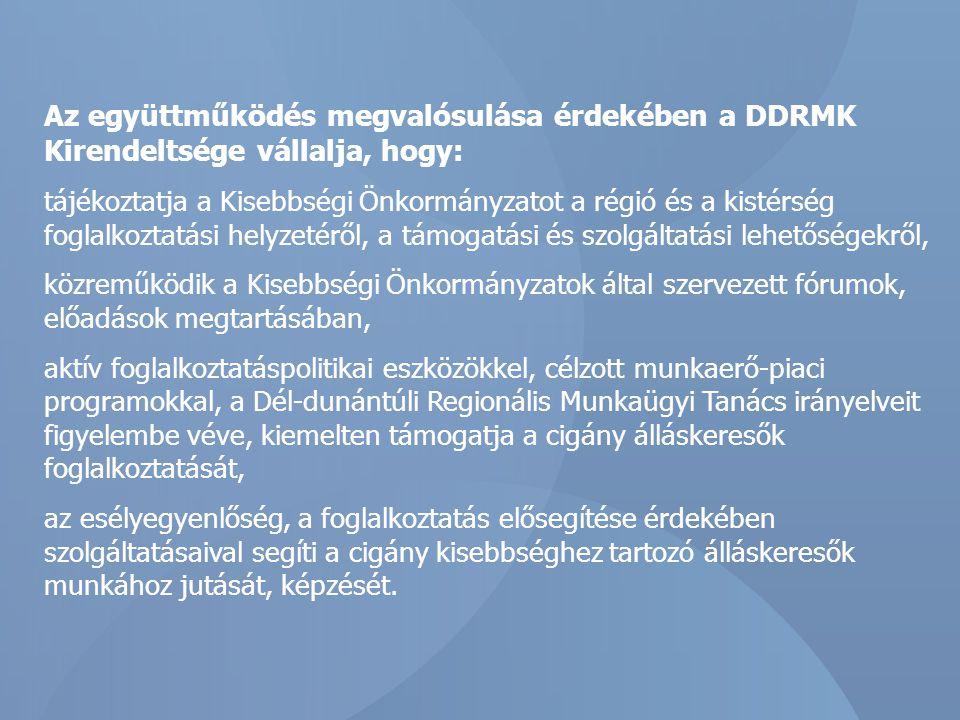 Az együttműködés megvalósulása érdekében a CKÖ vállalja, hogy: észrevételeivel, javaslataival segíti a DDRMK Kirendeltségének munkáját, részt vállal a cigány kisebbséget érintő foglalkoztatást elősegítő koncepciójának kidolgozásában, népszerűsíti a DDRMK Kirendeltségének szolgáltatásait, ösztönzi a cigány kisebbséghez tartozó álláskeresőket a szolgáltatások igénybevételére, tájékoztatást nyújt az általa végzett, a cigányság foglalkoztatását elősegítő tevékenységéről, a cigány kisebbség körében erősíti a képzési és munkavállalási hajlandóságot, részt vesz a DDRMK Kirendeltsége által a cigány munkanélküliség csökkentését szolgáló képzések, munkaerő-piaci programok, közmunkák, és közhasznú munkák propagálásában, a résztvevők toborzásában.