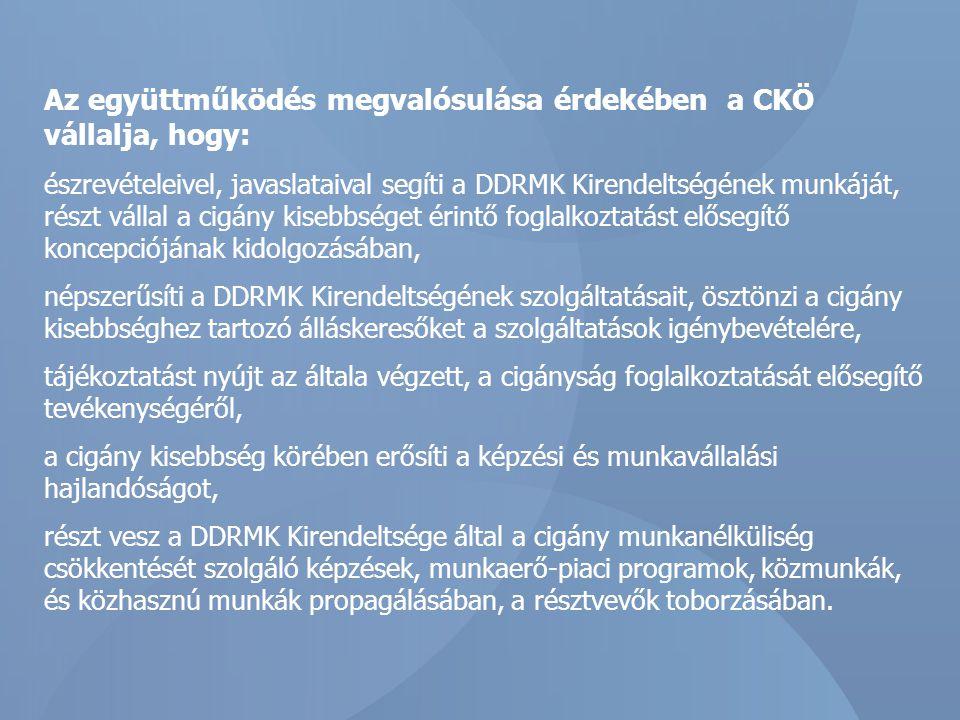 Az együttműködés megvalósulása érdekében a CKÖ vállalja, hogy: észrevételeivel, javaslataival segíti a DDRMK Kirendeltségének munkáját, részt vállal a