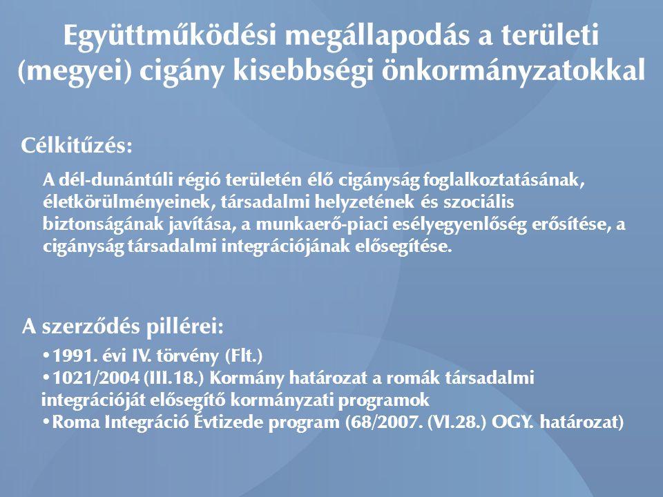 Együttműködési megállapodás a területi (megyei) cigány kisebbségi önkormányzatokkal Célkitűzés: A dél-dunántúli régió területén élő cigányság foglalko