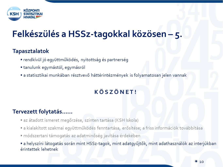 Felkészülés a HSSz-tagokkal közösen – 5.