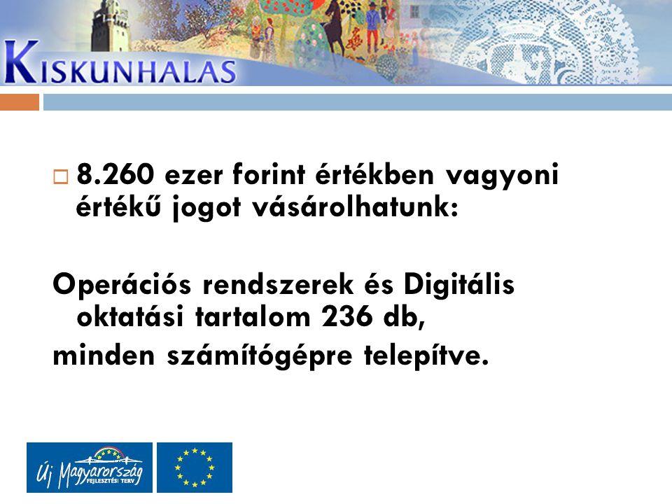  8.260 ezer forint értékben vagyoni értékű jogot vásárolhatunk: Operációs rendszerek és Digitális oktatási tartalom236 db, minden számítógépre telepítve.