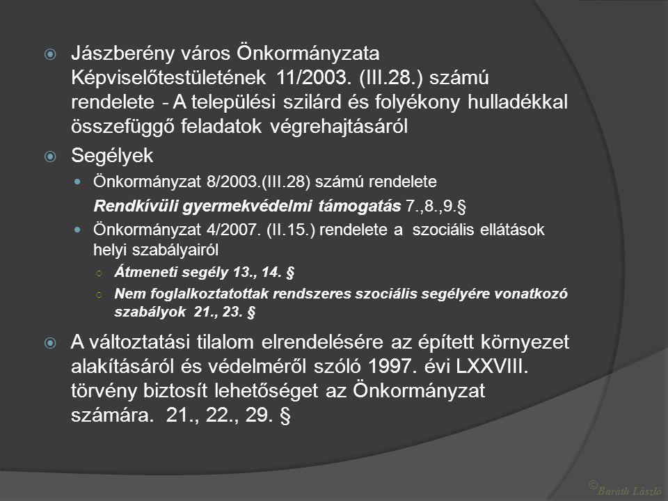  Jászberény város Önkormányzata Képviselőtestületének 11/2003.