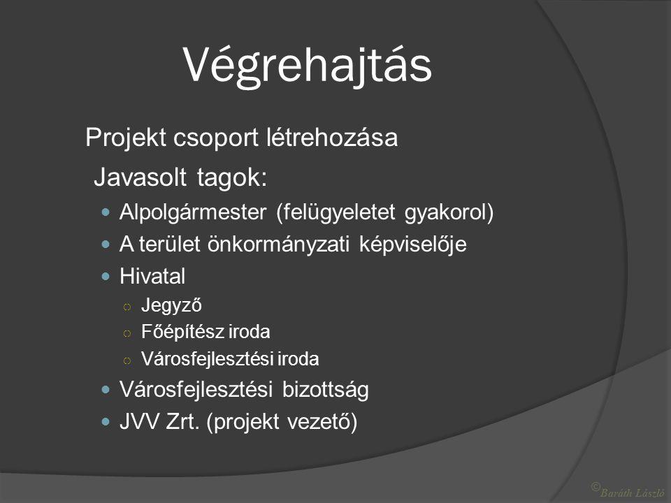 Végrehajtás Projekt csoport létrehozása Javasolt tagok:  Alpolgármester (felügyeletet gyakorol)  A terület önkormányzati képviselője  Hivatal ○ Jegyző ○ Főépítész iroda ○ Városfejlesztési iroda  Városfejlesztési bizottság  JVV Zrt.