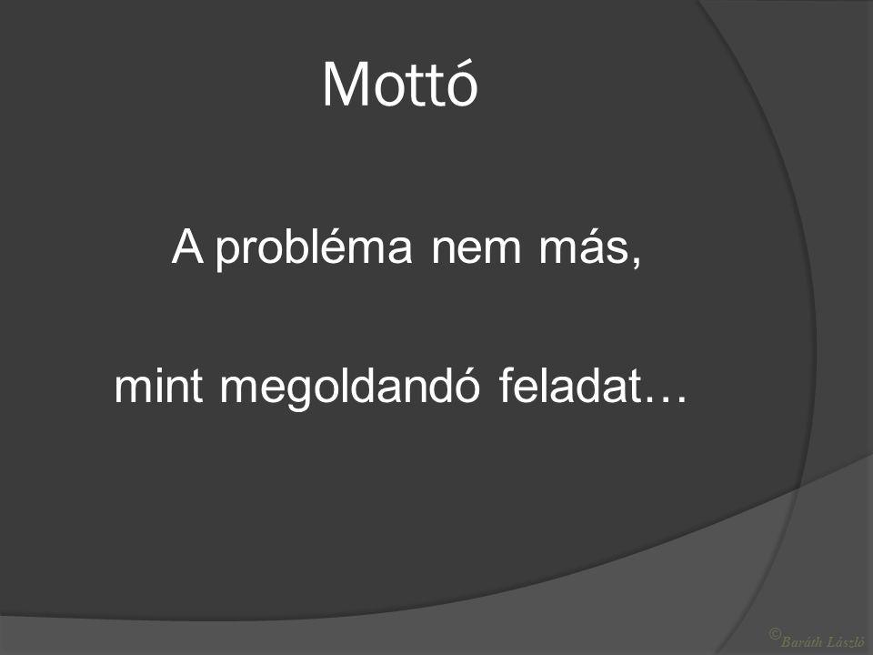 Mottó A probléma nem más, mint megoldandó feladat… © Baráth László