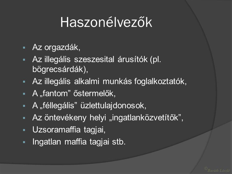 Haszonélvezők  Az orgazdák,  Az illegális szeszesital árusítók (pl.