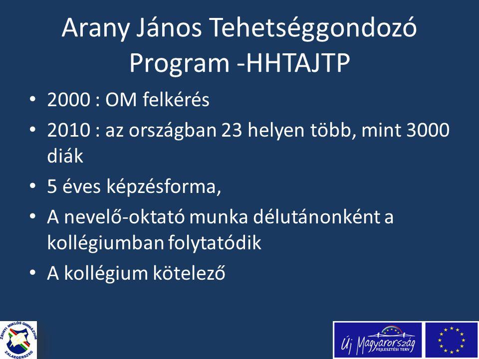 Arany János Tehetséggondozó Program -HHTAJTP • 2000 : OM felkérés • 2010 : az országban 23 helyen több, mint 3000 diák • 5 éves képzésforma, • A nevelő-oktató munka délutánonként a kollégiumban folytatódik • A kollégium kötelező