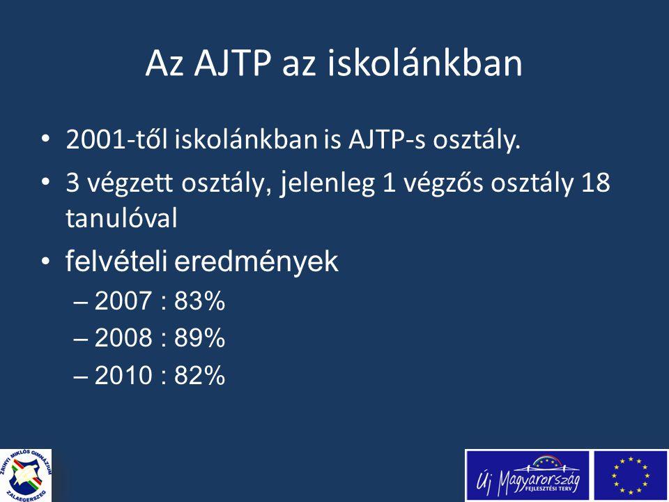 Az AJTP az iskolánkban • 2001-től iskolánkban is AJTP-s osztály.