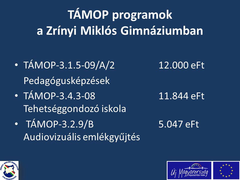 TÁMOP programok a Zrínyi Miklós Gimnáziumban • TÁMOP-3.1.5-09/A/212.000 eFt Pedagógusképzések • TÁMOP-3.4.3-08 11.844 eFt Tehetséggondozó iskola • TÁMOP-3.2.9/B 5.047 eFt Audiovizuális emlékgyűjtés