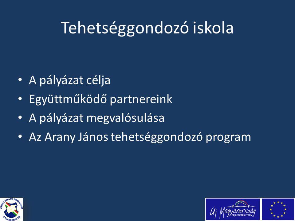 Tehetséggondozó iskola • A pályázat célja • Együttműködő partnereink • A pályázat megvalósulása • Az Arany János tehetséggondozó program