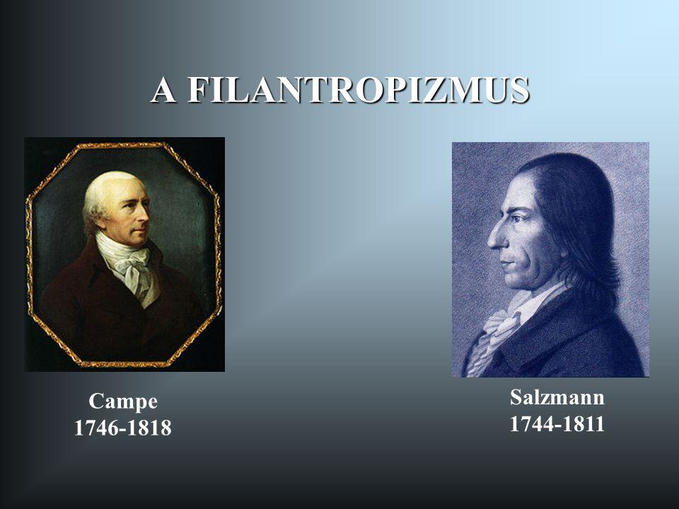 A FILANTROPIZMUS Campe 1746-1818 Salzmann 1744-1811
