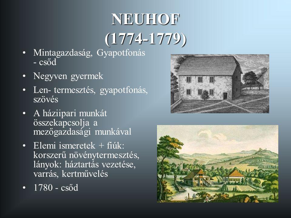 NEUHOF (1774-1779) •Mintagazdaság, Gyapotfonás - csőd •Negyven gyermek •Len- termesztés, gyapotfonás, szövés •A háziipari munkát összekapcsolja a mező