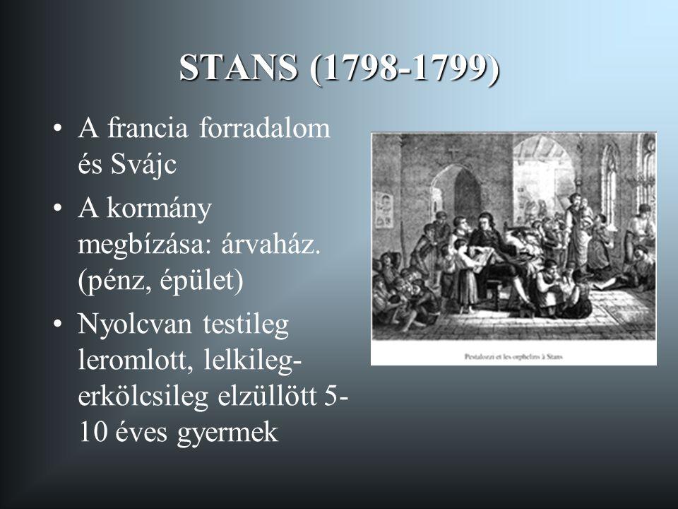 STANS (1798-1799) •A francia forradalom és Svájc •A kormány megbízása: árvaház. (pénz, épület) •Nyolcvan testileg leromlott, lelkileg- erkölcsileg elz