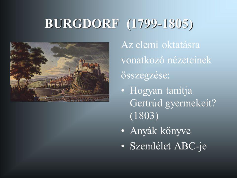 BURGDORF (1799-1805) Az elemi oktatásra vonatkozó nézeteinek összegzése: •Hogyan tanítja Gertrúd gyermekeit? (1803) •Anyák könyve •Szemlélet ABC-je