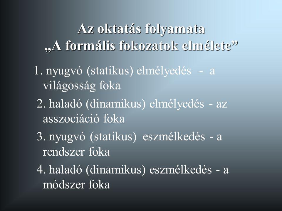 """Az oktatás folyamata """"A formális fokozatok elmélete"""" 1. nyugvó (statikus) elmélyedés - a világosság foka 2. haladó (dinamikus) elmélyedés - az asszoci"""