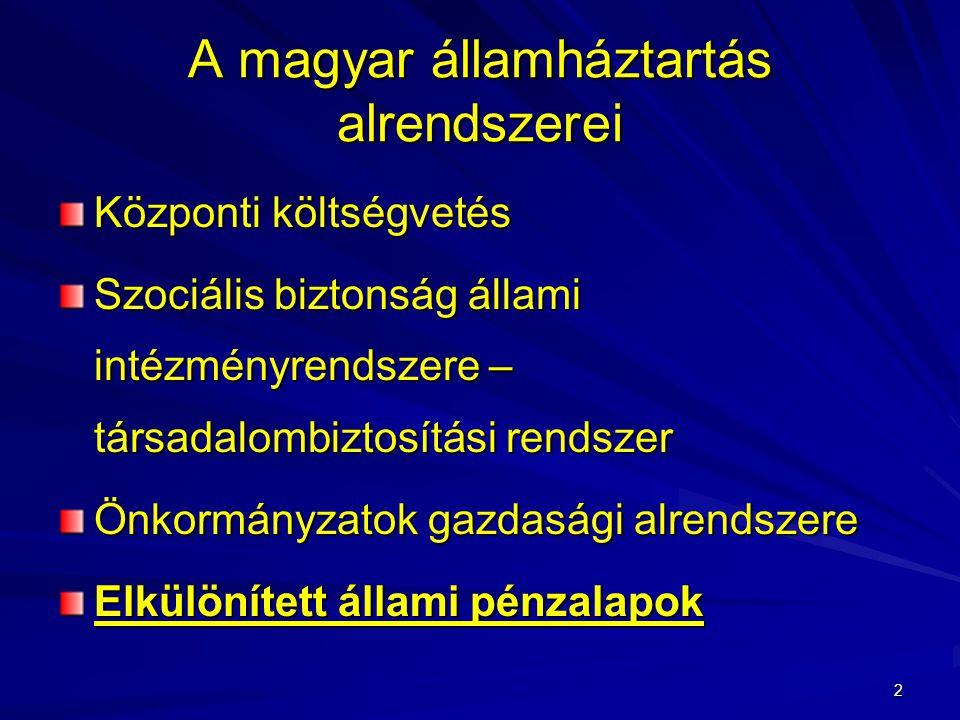 2 A magyar államháztartás alrendszerei Központi költségvetés Szociális biztonság állami intézményrendszere – társadalombiztosítási rendszer Önkormányzatok gazdasági alrendszere Elkülönített állami pénzalapok