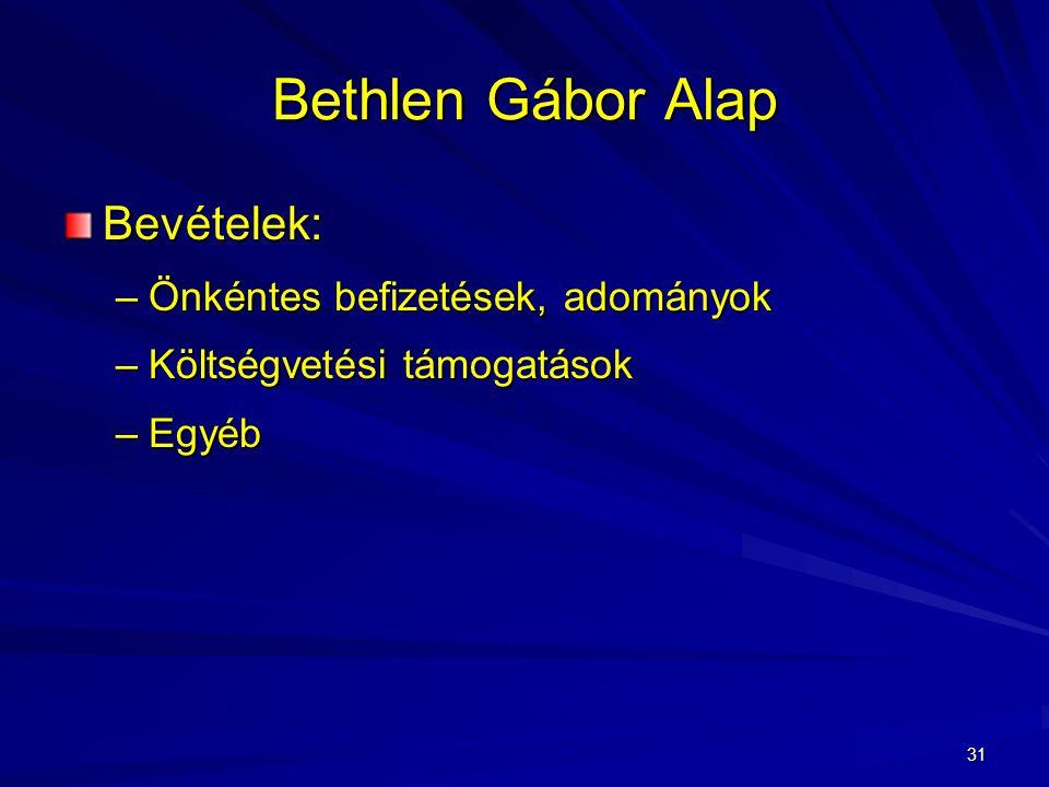 31 Bethlen Gábor Alap Bevételek: –Önkéntes befizetések, adományok –Költségvetési támogatások –Egyéb