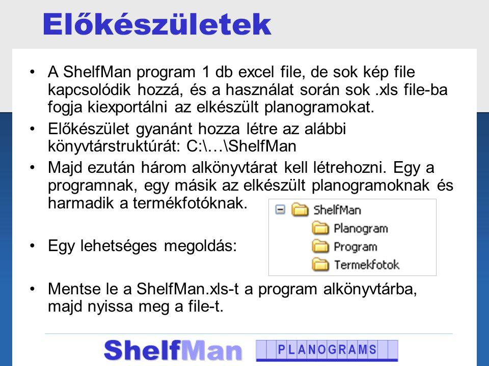 Előkészületek •A ShelfMan program 1 db excel file, de sok kép file kapcsolódik hozzá, és a használat során sok.xls file-ba fogja kiexportálni az elkés