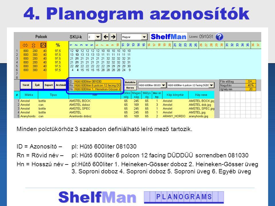 4. Planogram azonosítók Minden polctükörhöz 3 szabadon definiálható leíró mező tartozik. ID = Azonosító – pl: Hűtő 600liter 081030 Rn = Rövid név – pl