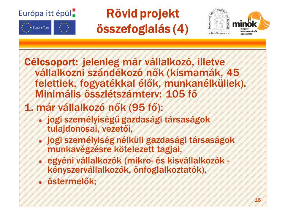 16 Rövid projekt összefoglalás (4) Célcsoport: jelenleg már vállalkozó, illetve vállalkozni szándékozó nők (kismamák, 45 felettiek, fogyatékkal élők, munkanélküliek).