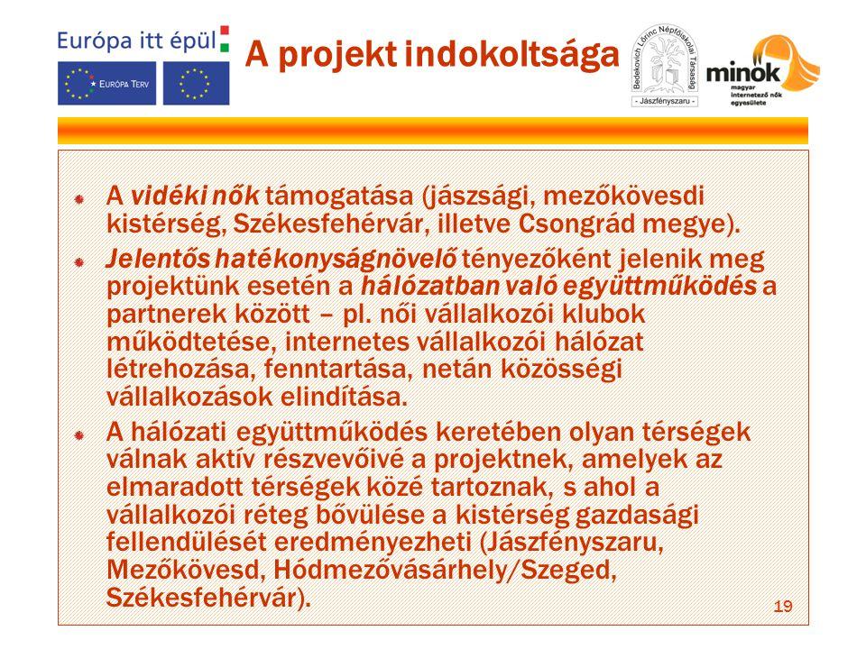 19 A projekt indokoltsága A vidéki nők támogatása (jászsági, mezőkövesdi kistérség, Székesfehérvár, illetve Csongrád megye).