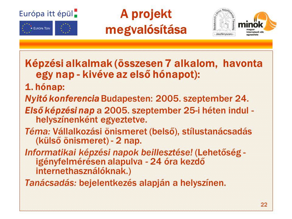 22 A projekt megvalósítása Képzési alkalmak (összesen 7 alkalom, havonta egy nap - kivéve az első hónapot): 1.