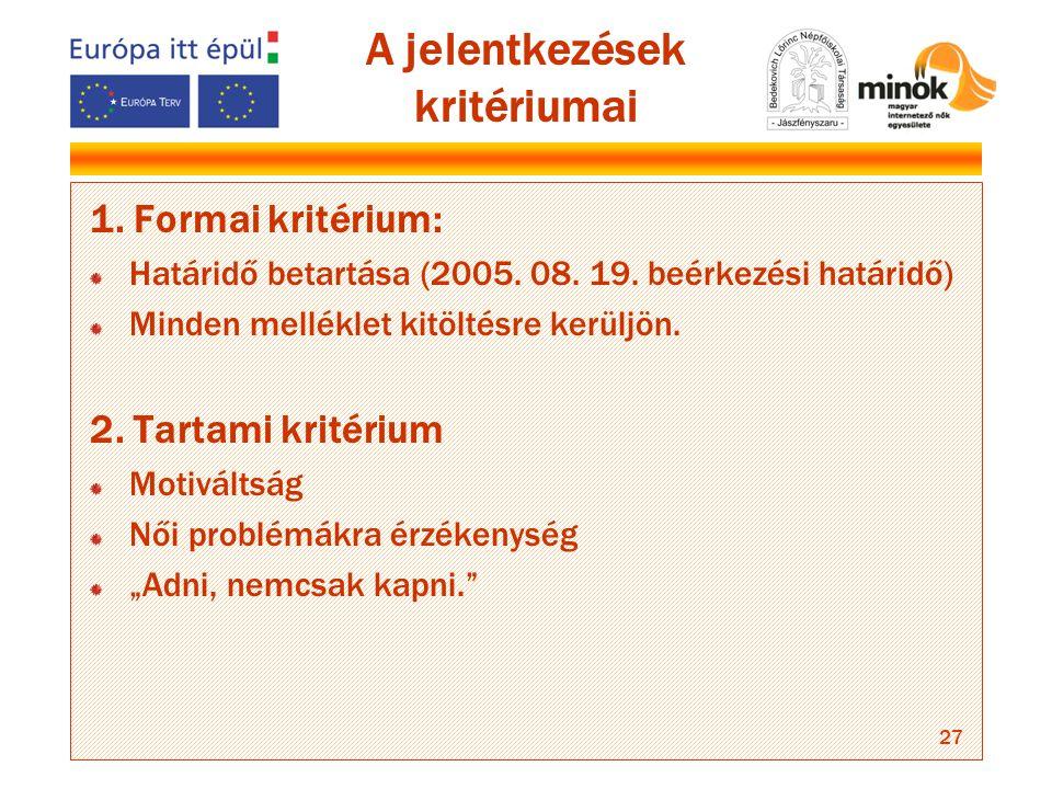 27 A jelentkezések kritériumai 1. Formai kritérium: Határidő betartása (2005.