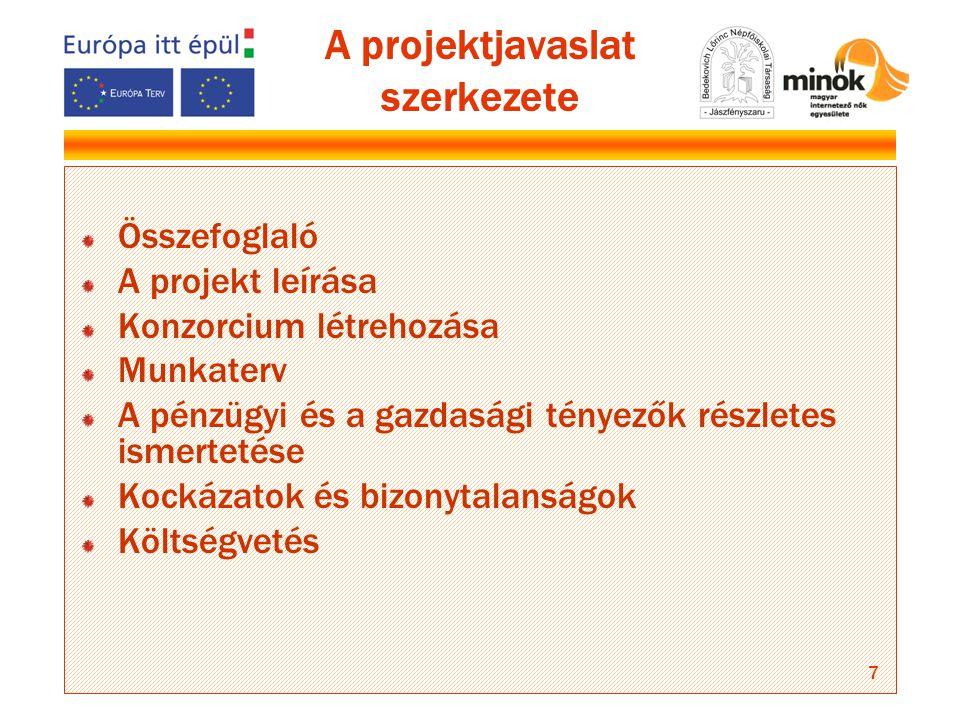 7 A projektjavaslat szerkezete Összefoglaló A projekt leírása Konzorcium létrehozása Munkaterv A pénzügyi és a gazdasági tényezők részletes ismertetése Kockázatok és bizonytalanságok Költségvetés