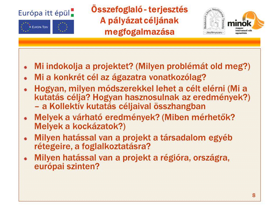 8 Összefoglaló - terjesztés A pályázat céljának megfogalmazása Mi indokolja a projektet.