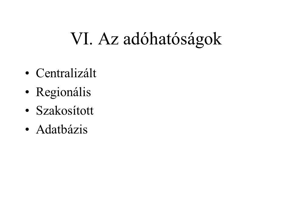 VI. Az adóhatóságok •Centralizált •Regionális •Szakosított •Adatbázis