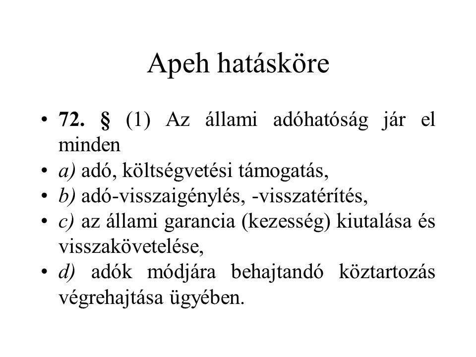 Apeh hatásköre •72. § (1) Az állami adóhatóság jár el minden •a) adó, költségvetési támogatás, •b) adó-visszaigénylés, -visszatérítés, •c) az állami g