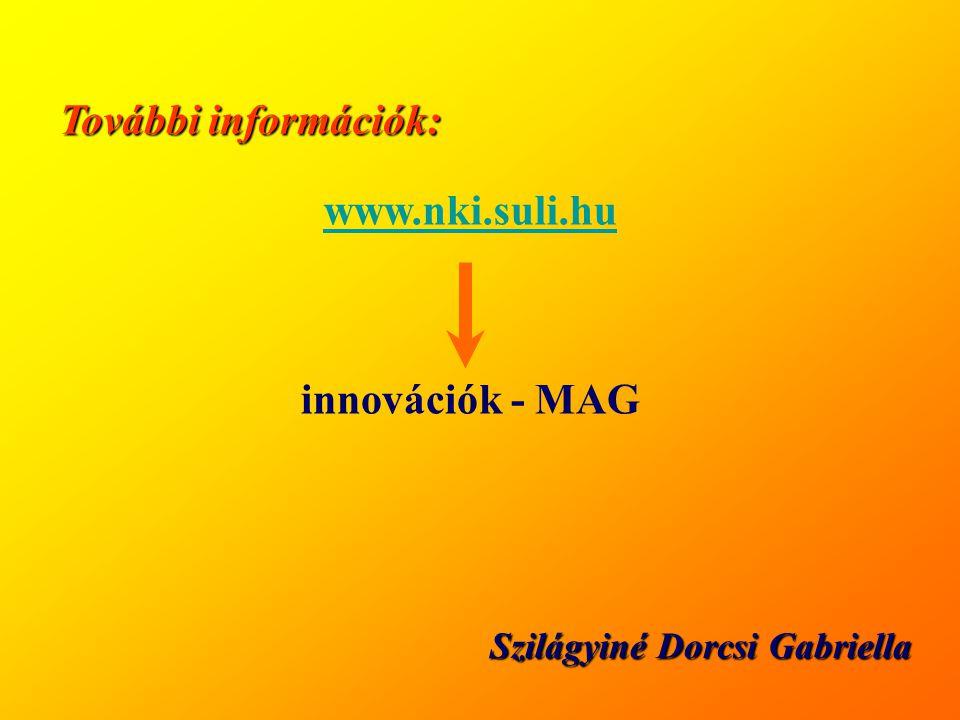További információk: Szilágyiné Dorcsi Gabriella www.nki.suli.hu innovációk - MAG