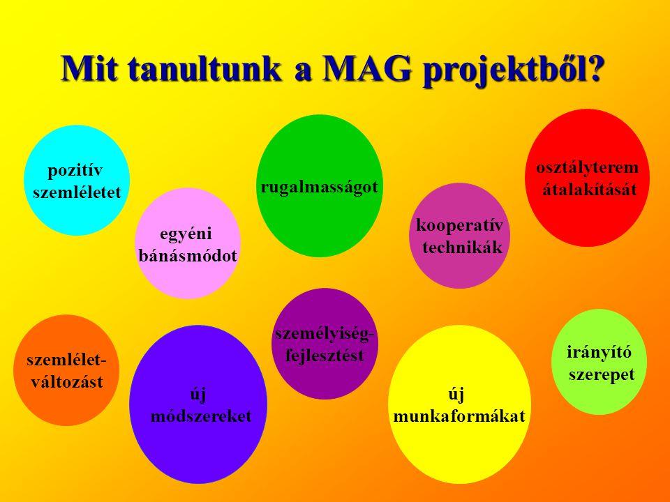 Mit tanultunk a MAG projektből? pozitív szemléletet egyéni bánásmódot rugalmasságot kooperatív technikák új munkaformákat irányító szerepet új módszer